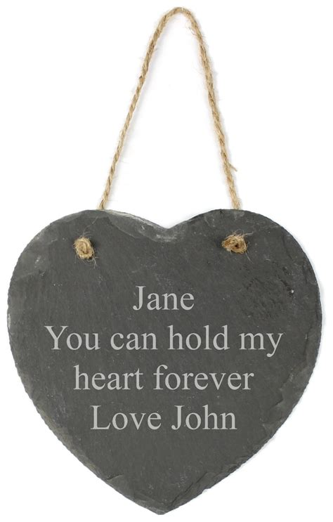 Personalised Engraved Hanging Slate Heart - 15cm - Any