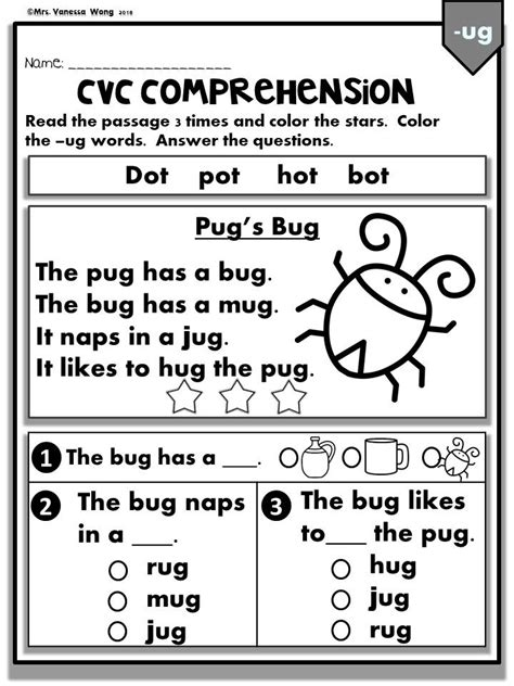 Phonics Worksheets -CVC comprehension early readers