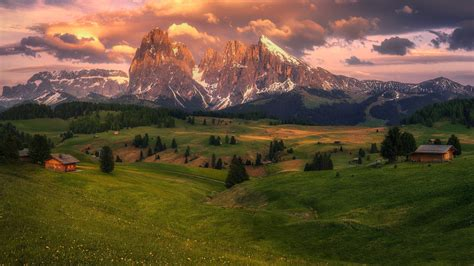 Alps Meadow Mountain With Hut HD Nature Wallpapers   HD