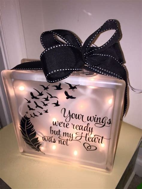 Items similar to Wings Were Ready Lighted Glass Block