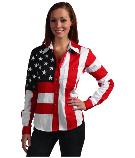 Scully Flag Shirt (red/white/blue) Long Sleeve Button Up