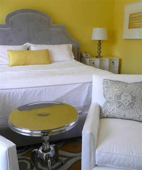 Yellow and Gray Bedroom - Contemporary - bedroom