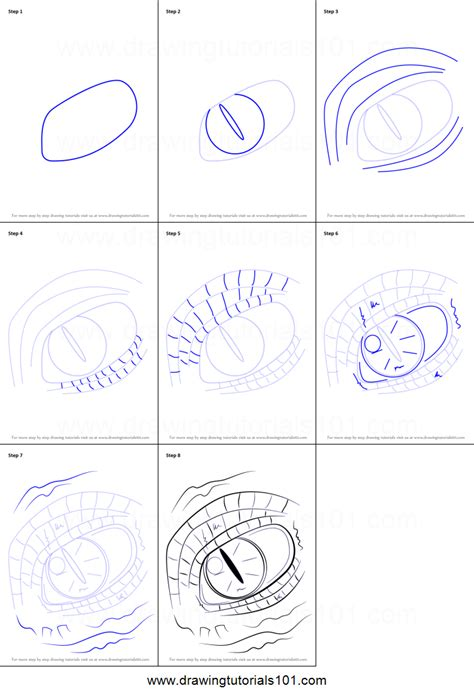 How to Draw Dragon Eyes printable step by step drawing