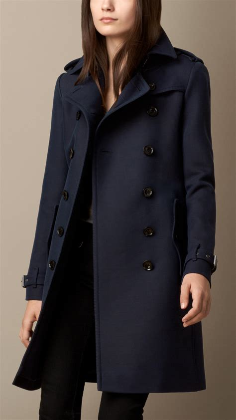 Burberry Cotton Wool Blend Twill Trench Coat in Blue (navy